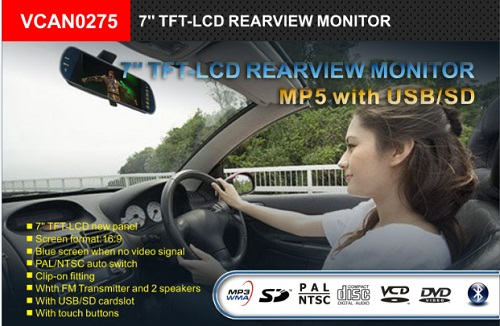 7inch Rearview Mirror Monitor Support MP5 Bluetooth 5 -