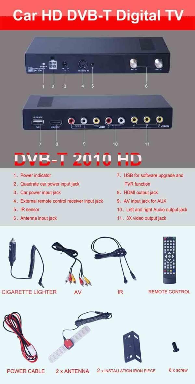 Car DVB-T Receiver MPEG4 H.264 2 tuner 2 diversity antenna Booster Recorder DVBT 10 -
