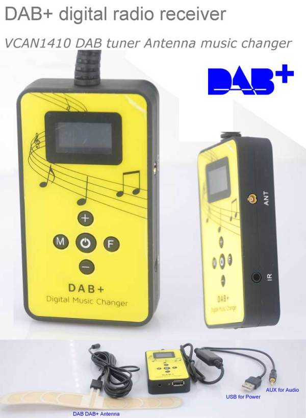 DAB digital radio receiver dab plus tuner Antenna USB power AUX input music changer 1 -