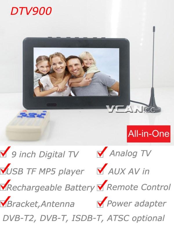 DTV900 DVB-T2 DVB-T ATSC ISDB-T 9 inch Digital TV Analog TV USB TF MP5 player AV in Rechargeable Battery 2 -