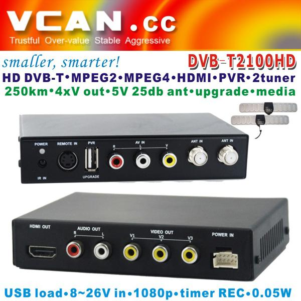 DVB-T2100HD Car DVB-T MPEG4 H.264 2 tuner Digital TV receiver 2 tuner 2 antenna 1 -
