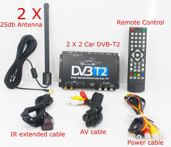 2 antenna car DVB-T2 Two tuner tv Diversity USB HDMI HDTV High Speed dvb-t22 4 -