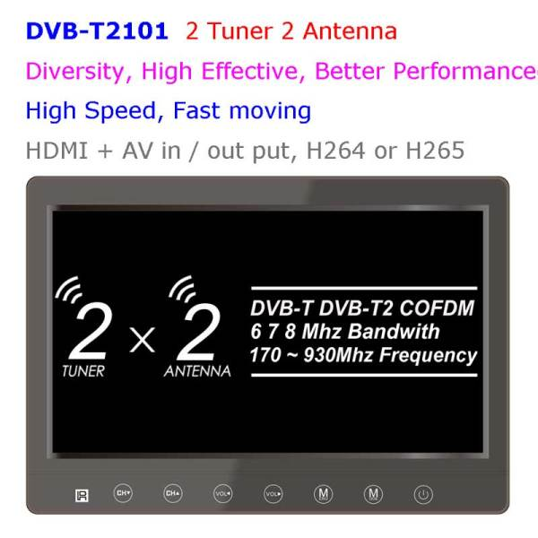 diversity dvb-t cofdm 10.1 inch digital tv monitor dvb-t2 receiver hdmi in out 6M 7M 8M bandwidth 170M to 930M frequency 1 -
