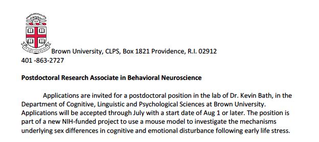 Postdoctoral Research Associate in Behavioral Neuroscience
