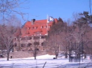 Nobles and Greenough castle in winter charles river