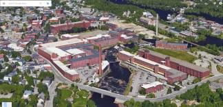 Biddeford Maine red brick mills aerial 2