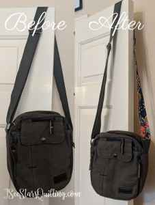 Before & After - The easy way to make a bag strap longer (and make it cute!) | This is a full tutorial with pictures to guide you step by step!