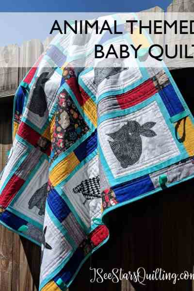 This super cute Animal Baby Quilt was a quick sew using already printed panels of fabric from MODA. Isn't it beautiful? I'm going to save this idea for when I need quilting inspiration!