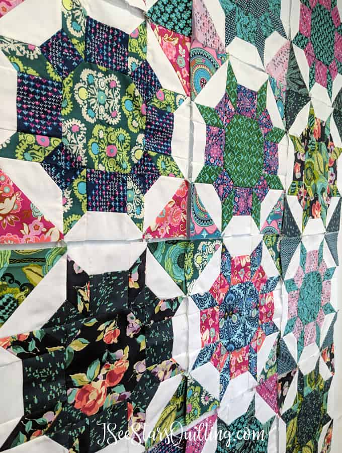 Shimmer Pattern by CluckCluckSew - sewing by ISeeStarsQuilting Quilt top reveal and Pattern Review