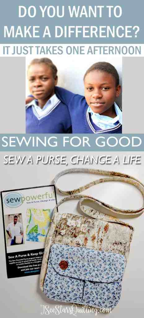 "Sew Powerful is a ""sewing for good"" organization that helps break the cycle of poverty and they need your help! Download the FREE purse pattern and change a life!"