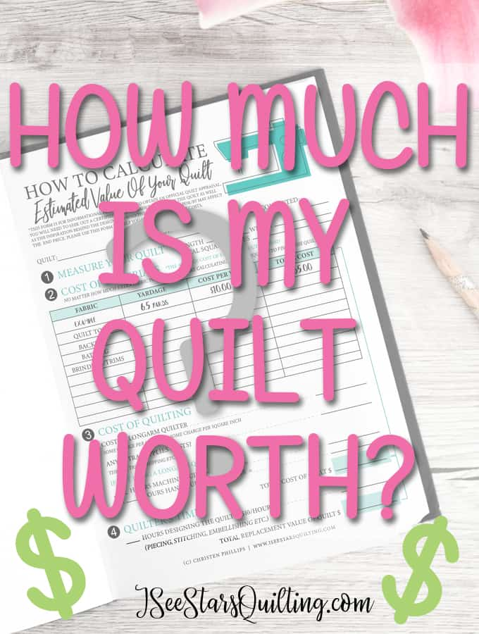 "FREE Download Worksheet to calculate just how much your quilt is worth so next time you get the question... ""How much would you charge for..."" you'll know exactly what your time and resources are worth!"