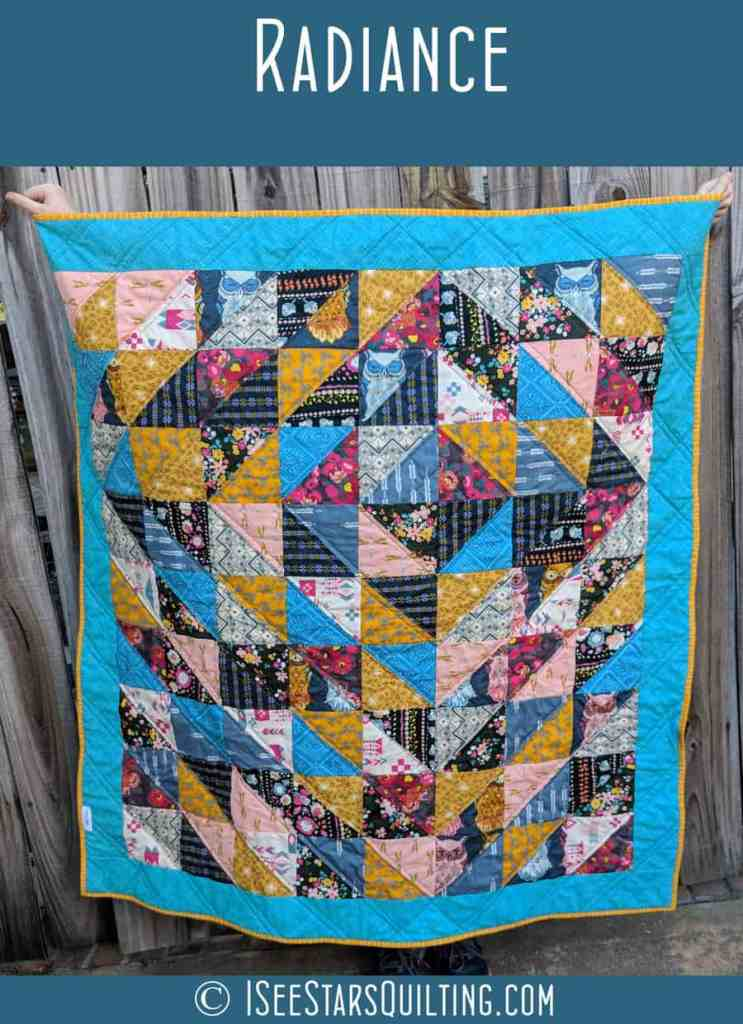 This is the Radiance Quilt Pattern by ISeeStarsQuilting! Its a fun and easy beginner quilt pattern that comes together quickly.
