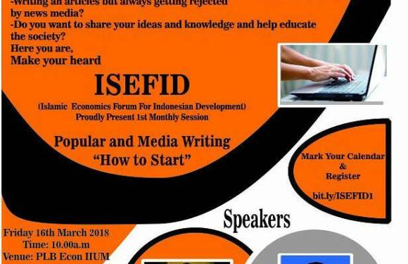 [ISEFID Monthly Session]: Popular and Media Writing: How to Start?