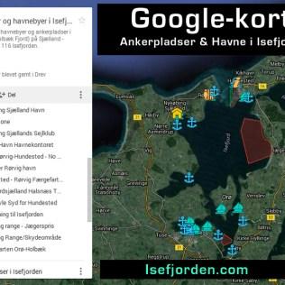 Google-kort med alle havne og ankerpladser i Isefjorden