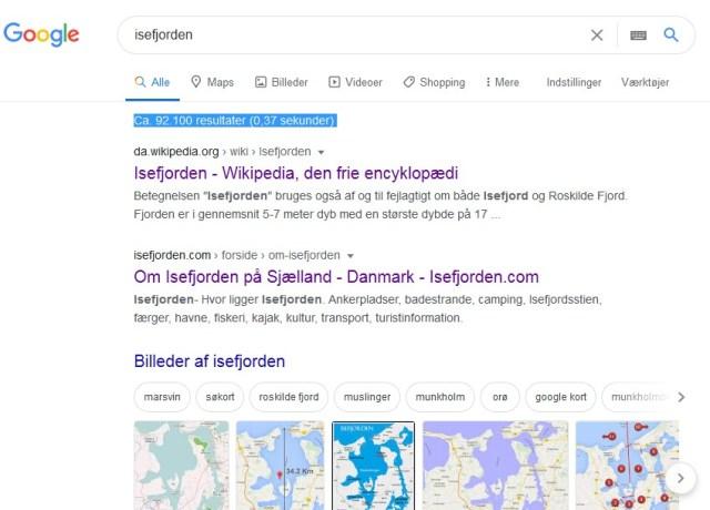 Skærmbillede af Google-søgning efter Isefjorden juni 2020