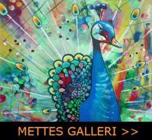 Mettes Galleri med akrylmaleri. Billedet viser en Påfugl.