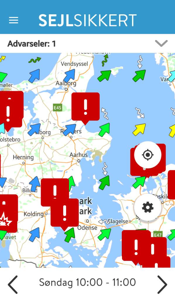 Skærmbillede af den opdaterede App Sejl Sikkert - Advarsler