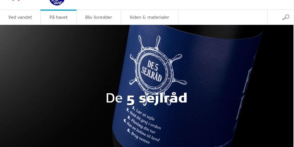 Skærmbillede af Trygfondens hjemmeside Respekt for vand Januar 2018 - De 5 sejlråd