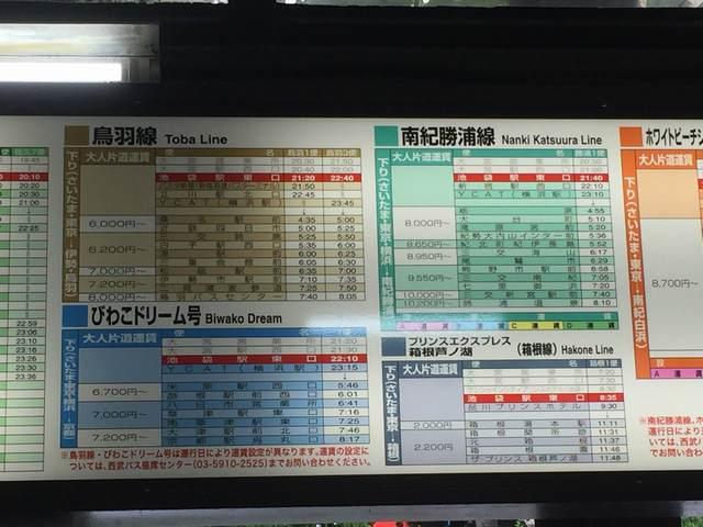 格安バス時刻表(池袋~伊勢・鳥羽)
