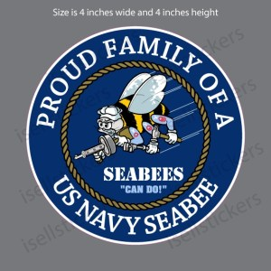 NV-4096 Proud Family of a US Navy Seabee Decal Sticker