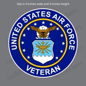 Air Force Veteran Military Vinyl Bumper Sticker Window Decal Crest
