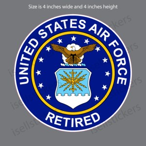 Retired Air Force Military Vinyl Bumper Sticker Window Decal Crest