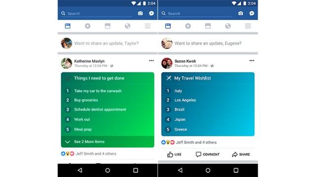 Nuevas listas para los estados de Facebook