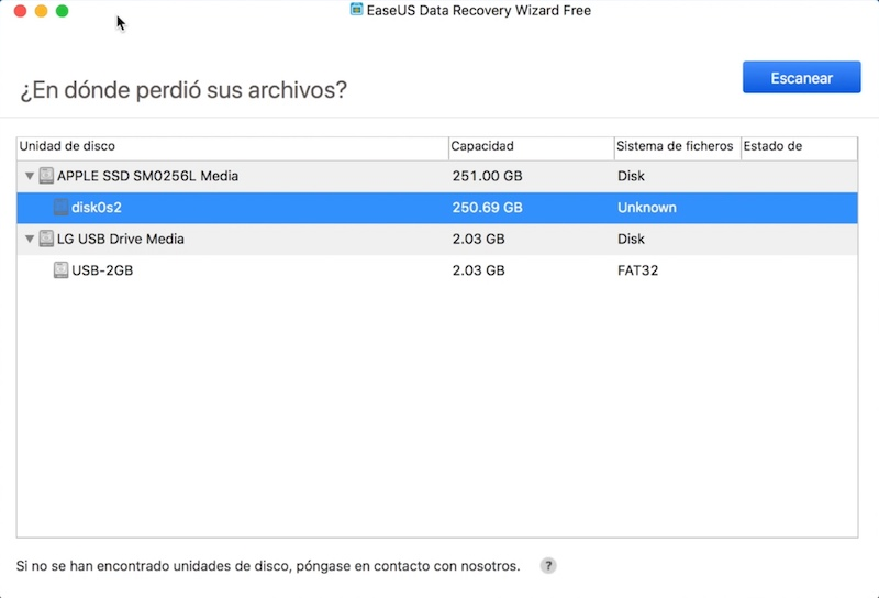 Screenshot de EaseUS Data Recovery Wizard