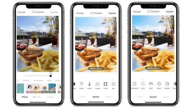 Foodie App filtros de comida