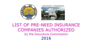 LIST of AUTHORIZED PRE-NEED INSURANCE COMPANIES for 2016