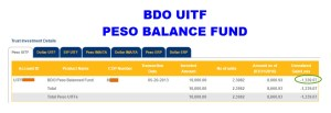 First Time UITF Investor: BDO Peso Balance Fund P10,000 Placement and ROI After 3 Years