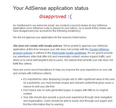 Disapproved Adsense Application