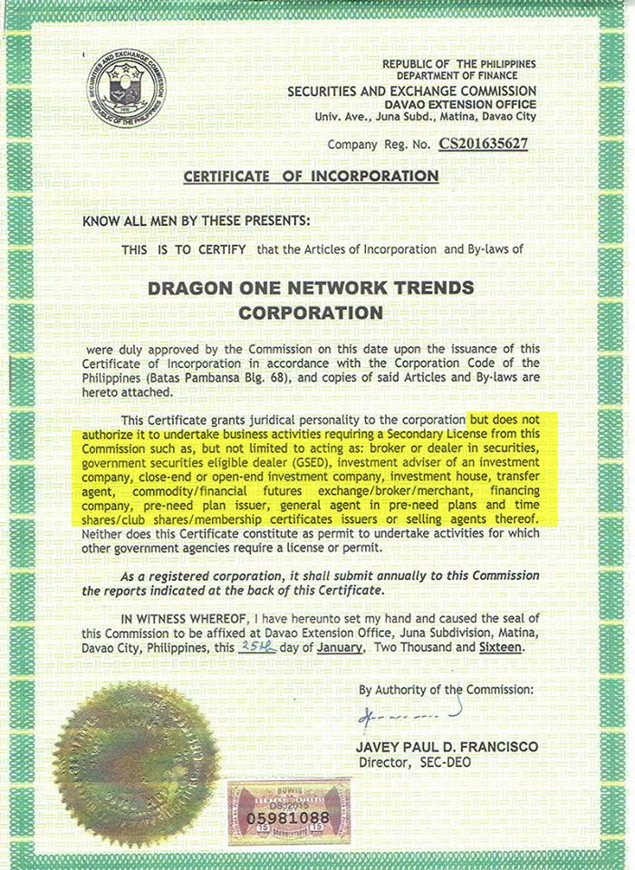 SEC License for Dragon One Trend