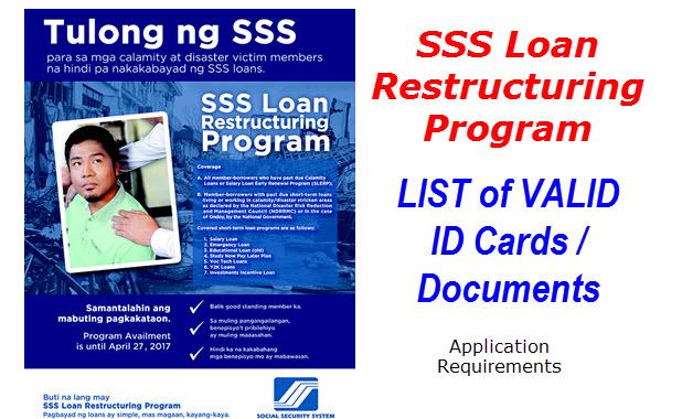SSS Loan Restructuring Program Application Valid IDs
