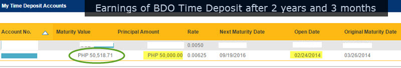 BDO Time Deposit Earnings after 2 Years