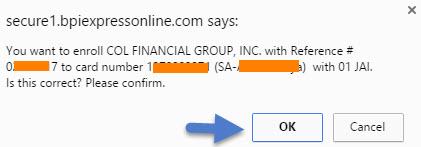 BPI Online enroll COL Financial account