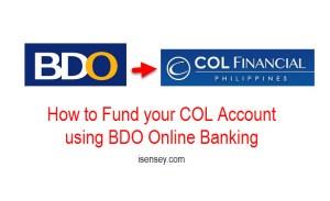 Fund COL account using BDO Online