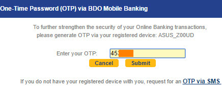 Input One Time Password OTP BDO