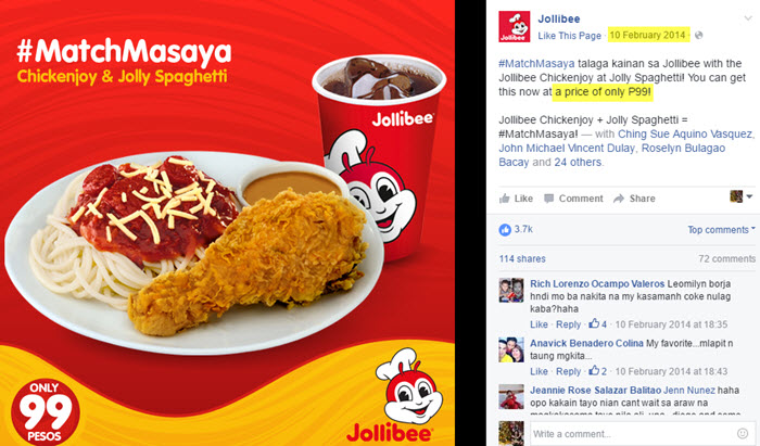 Jollibee Chicken Spaghetti Meal at 99 in 2014