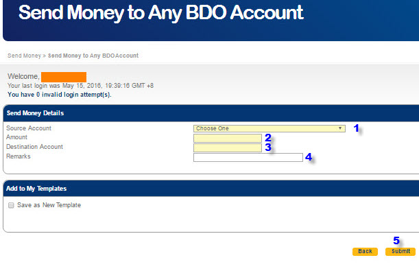 Send to unenrolled BDO account