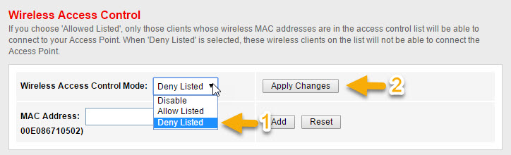 Block MAC Address from accessing WIFI