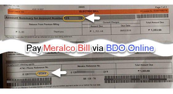 Pay Meralco Bill via BDO Online