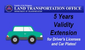 5 Years Drivers License and Car Plates Validity