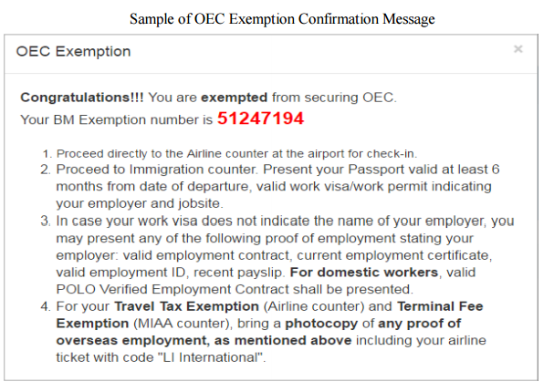 sample oec confirmation message