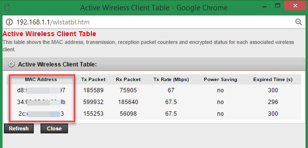PLDT DSL MAC Address of devices