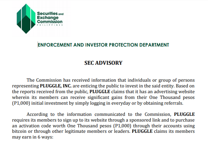 SEC ADVISORY AGAINTS PLUGGLE INC - WARNING TO THE PUBLIC
