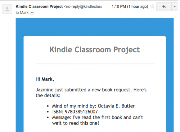 KCP Book Request Email
