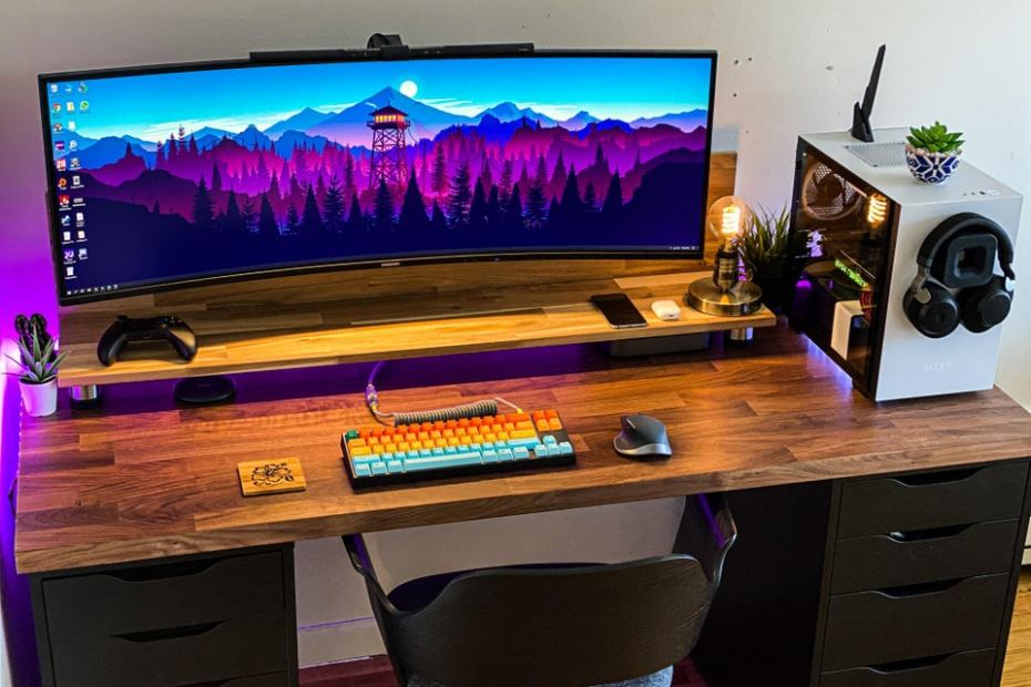 workspace with ultrawide monitor