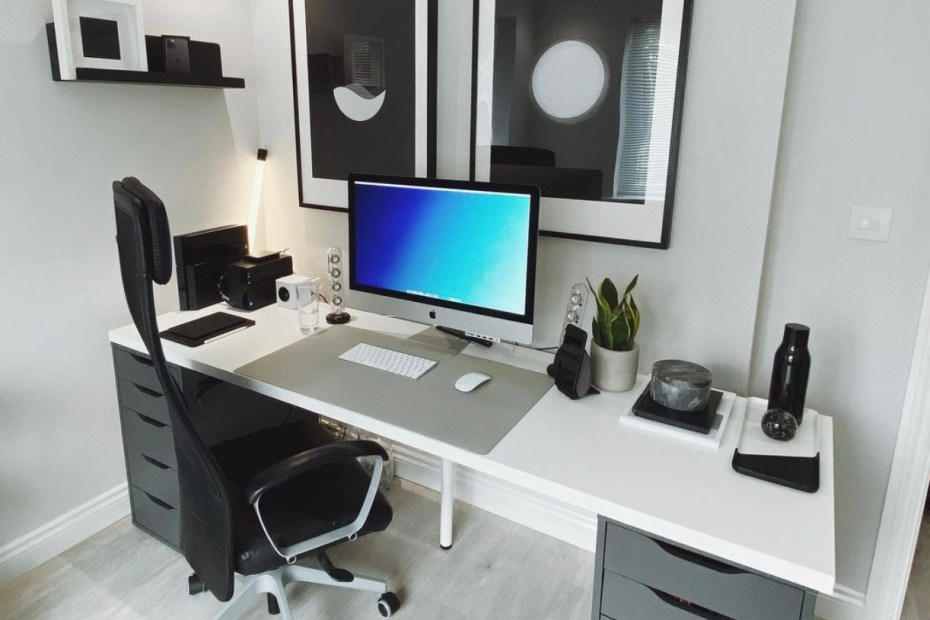 all white minimal desk setup
