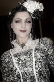 Christelle in Steampunk print 1882 dress. Photo by